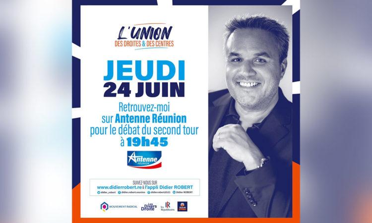 Retrouvez Didier ROBERT pour le Débat du 2nd tour des Régionales sur Antenne Réunion à 19h45 - jeudi 24 juin 2021. (...)